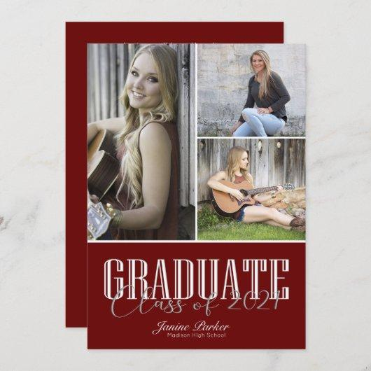 Class of Add Four Photos Red Graduation Announcement