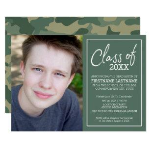 Class of Year Camouflage Graduation Photo - green Invitation