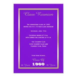 Class Reunion Your Year Purple and Gold Invitation