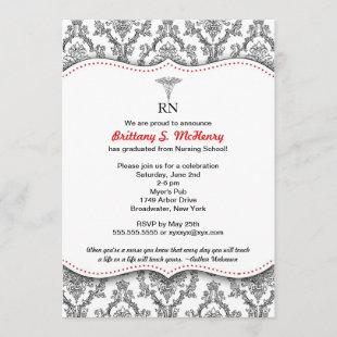 Classic Black and Red Nurse graduation pinning Invitation