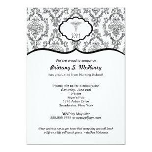 Classic Black Damask Nurse graduation RN BSN Invitation
