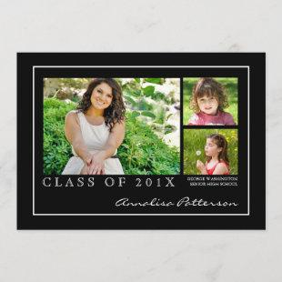 Classic & Elegant Graduation 3 Photo Announcement
