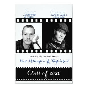 Classic Film Theme with Blue Twin Graduation Invitation
