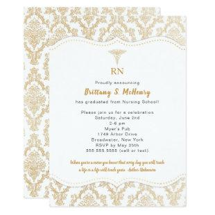 Classic Gold Damask Nurse Graduation Invitation