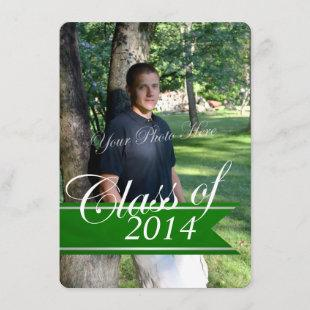Classic Grad 2014 Varsity Banner Green Photo Announcement