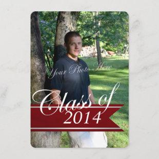 Classic Grad 2014 Varsity Banner Red Photo Announcement