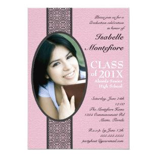 Classic Stripe Pink Black Graduation Party Invitation