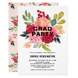 Classic Watercolor Flowers Twins Graduation Party Invitation