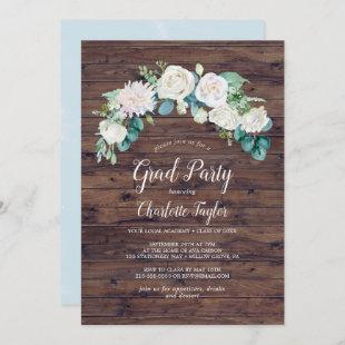 Classic White Flowers | Rustic Graduation Party Invitation