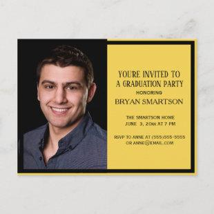 Classic Yellow Black Graduation Party Photo Invitation Postcard