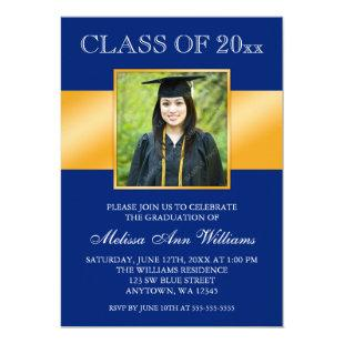 Classy Blue Gold Photo Graduation Announcement