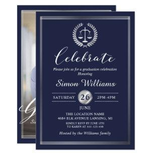 Classy Navy Blue Law School Graduation Party Photo Invitation