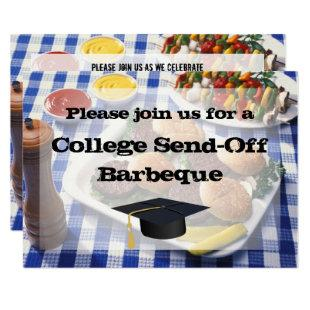 College Send-off BBQ Burgers on Table Personalized Invitation