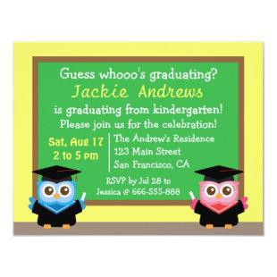 Colorful, Cute Owl Graduation, for Kids Invitation