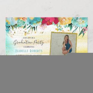 Colorful Flowers Gold Sparkle Glitter Graduation Invitation