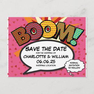Comic Book Pop Art BOOM Save the Date Announcement Postcard