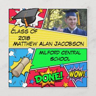 Comic Book Superhero Graduation Invitation