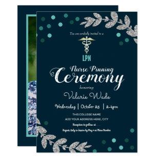 Confetti Graduation LPN Nurse Pinning Ceremony Invitation