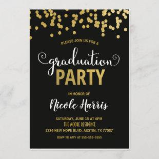 Confetti Graduation Party Invitation | Black