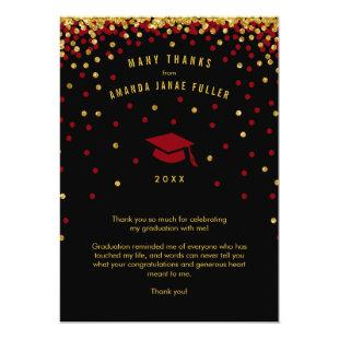 Confetti Graduation Thank You, Maroon Gold Glitter Invitation