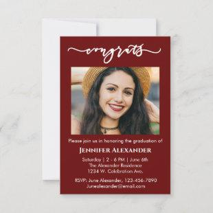 congrats calligraphy photo white text on burgundy thank you card