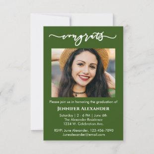 congrats calligraphy photo white text on green thank you card