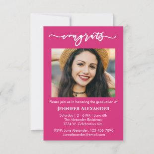 congrats calligraphy photo white text on hot pink thank you card