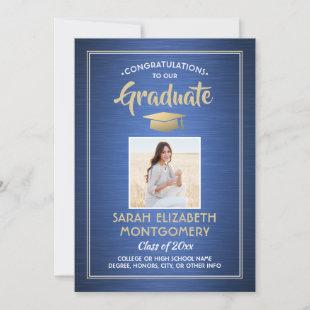 Congrats From Parents Brushed Blue Graduation