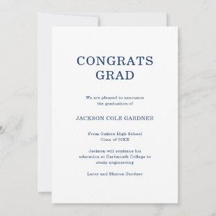 Congrats Grad Classic Navy Blue Graduation Announcement