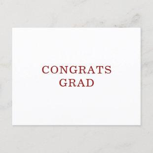 Congrats Grad Classic Red Non Photo Graduation Announcement Postcard
