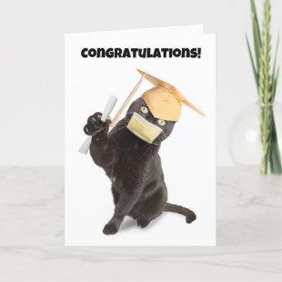 Congratulations Graduate Cat in Face Mask Humor Holiday Card