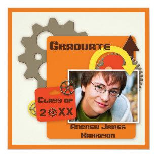Cool Gears Graduation Photo Invitation