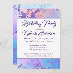 Cool Marble | Blue Purple and Pink Ombre Birthday