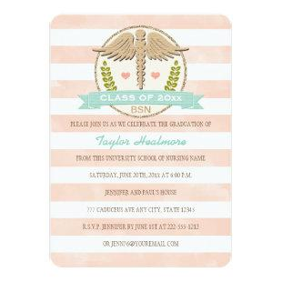 Coral and Aqua Caduceus Nursing School Graduation Invitation