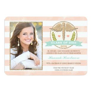 Coral Aqua Nursing School Graduation Announcement
