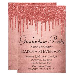 Coral Drip Graduation | Shiny Melting Glitter Pour Invitation