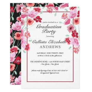 Coral Pink Floral Watercolor Graduation Party Invitation