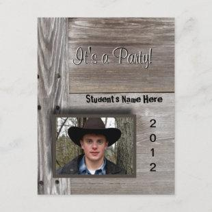 Country Barn wood open house for graduation Announcement