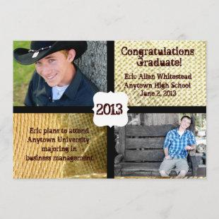 Country Burlap Photo Graduation Announcement