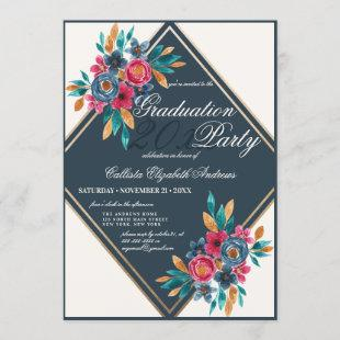 Country Fall Gold Watercolor Flowers Graduation Invitation