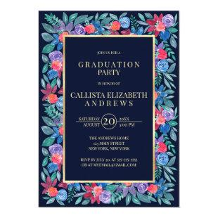Country Floral Strawberries Watercolor Graduation Invitation