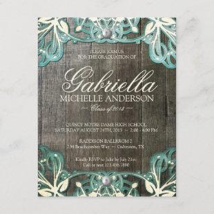 Country Lace Rustic Graduation Photo Invite