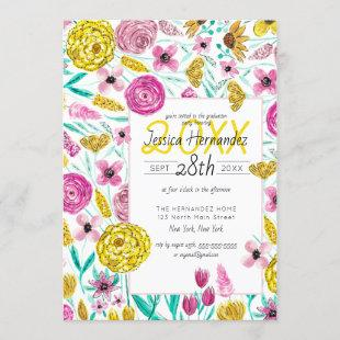 Country Pink Yellow Floral Watercolor Graduation Invitation