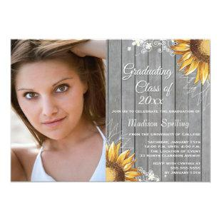 Country rustic sunflowers photo graduation party invitation