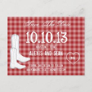 Cowboy Boots Red Checkered Gingham Announcement Postcard