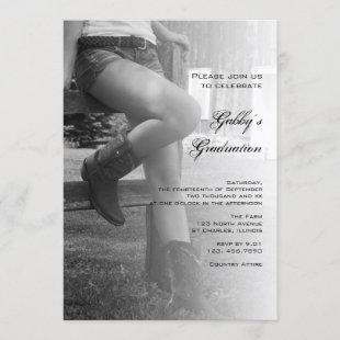 Cowgirl and Fence Barn Party Graduation Invitation