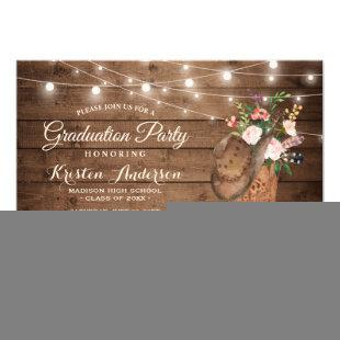 Cowgirl Boots Graduation Party Invitation