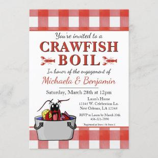 Crawfish Boil Lobster Party Engagement Red Picnic Invitation