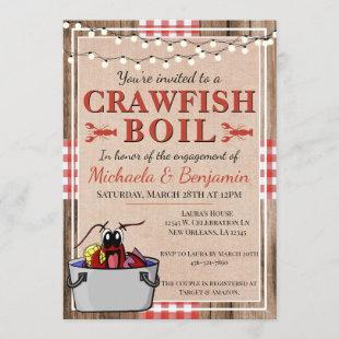 Crawfish Boil Lobster Rustic Engagement Party Invitation