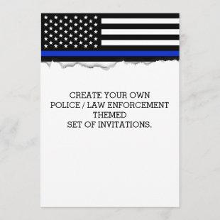 Create Your Own Police Flag Torn Out Look Custom Invitation